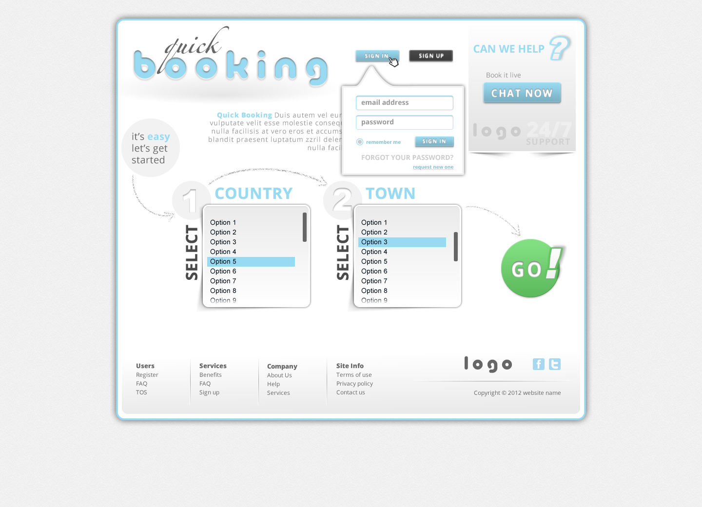 Quick Booking PSD Template For Free